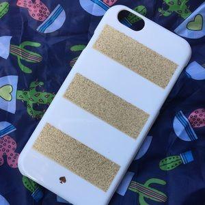 Kate spade iPhone 6S case gold glitter white